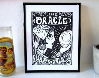 Oracle Fortune Teller Woman Mystic Crystal Ball Handmade Black & White Lino Art Print 25x20cm (Series of 10)
