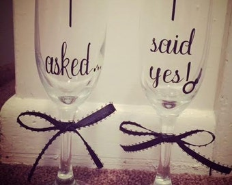 Engagement Champagne Flutes Set