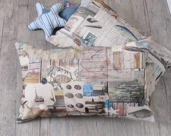 "Nautical 30x50cm (12""x20"") Pillow Cover, Cushion in Handmade, Weathered Wood, Throw Pillow, Marine Decoration, house warming, Sea-Life decor"