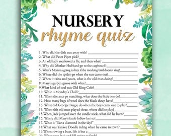 Baby Shower Game Nursery Rhyme Quiz - Succulents - Printable Digital Instant Download Stars Gender Neutral Pretty Baby Blue Boy /Girl decor