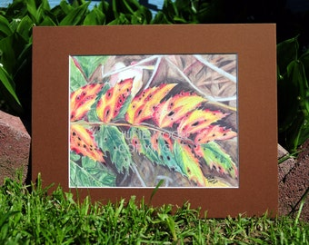 forest leaf water color print 11x14 with matte (8x10)