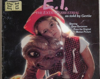 E.T. The Extra Terrestrial as Told by Gertie, Book and Cassette Tape, Vintage 1982 Universal Studios, Movie Ephemera, Drew Barrymore