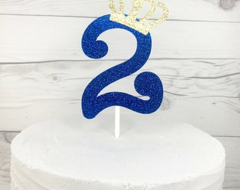 Prince Royal Blue Birthday Cake Topper, Boy's First Birthday Crown Birthday Royal Prince Birthday Royal Blue and Gold One Cake Topper