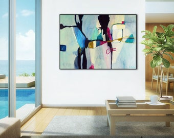 Office Abstract art print, abstract canvas art print, large abstract painting, abstract giclee, living room abstract artwork, Aquatic Ways