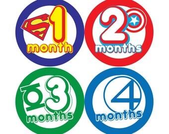 Super Hero Monthly Stickers - FREE SHIPPING - Hard Copy Marvel DC Superman Batman Wolverine Avengers XMen Spiderman, Flash, Iron Man,