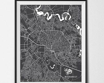 Bucharest Romania Map Art, Romania Art Print Bucharest Map of Bucharest City Map Poster Romania Gift Bucharest Art Poster Travel Map