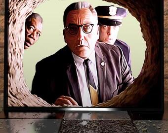 Shawshank Redemption - Digital Painting - Digital Illustration Poster Print - Morgan Freeman - Stephen King - Poster - Painting - Print