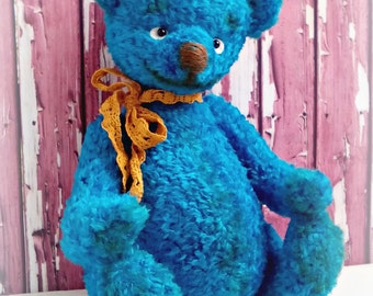 """Sale! Artist teddy bear 9.8"""" """"Blue Bear Of Happiness"""" OOAK teddy bear Stuffed bear Vintage Gift for him For man For her Valentine's Day gift"""