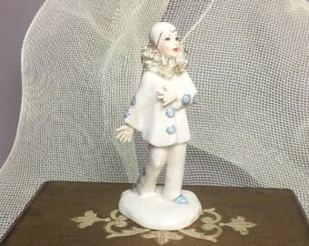 "Unique Lee Wollard Porcelain Pierrot Mime Clown Figurine ""Bobby"" 169 - B - Rare - Dresden Like Figurine - made in California"