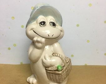 Ceramic Frog Cotton Ball Holder Dispenser by Andre Richard - Made In Japan - Andre Richard - Baby Room decor  - Baby Shower Gift