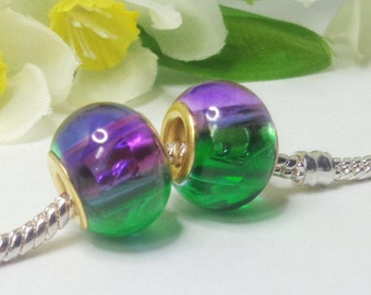 2 beads lampwork - glass - murano - charm - 14x11mm- European pearl - large hole- golden brass 4.5mm