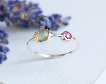 Opal Ring, Silver Opal Ring, October Birthstone, Amethyst Ring, Opal Jewelry, Gemstone Ring, Opal Silver Ring, Stacking Rings, Dainty Ring