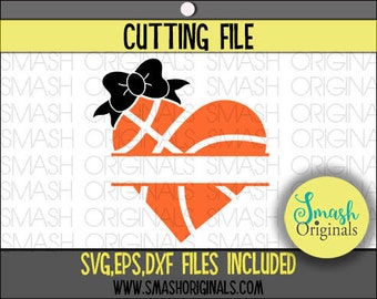 Girls Basketball Svg | Basketball Heart with Bow Cut File | SVG EPS and DXF Cut Files for Cutting Machine Cricut and Cameo | Basketball Dxf
