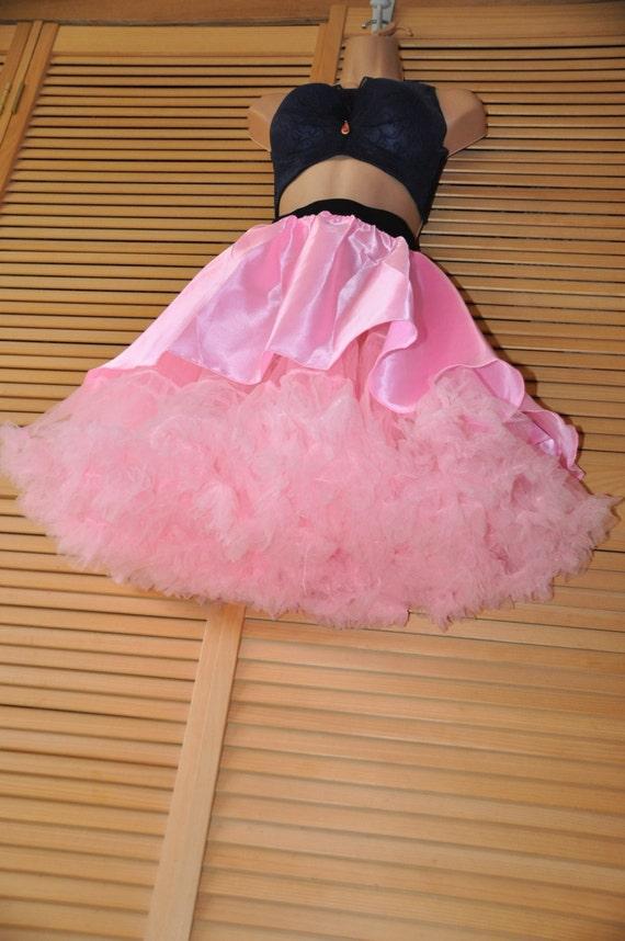 Princess pink petticoat & silky satin mini-skirt set, Sissy Lingerie