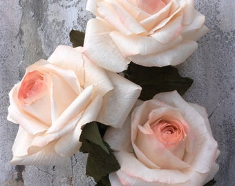 Handcrafted paper roses x 3, ivory and soft pink realistic flowers made from crepe coffee filter paper. Stunning for weddings or home decor.