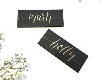 Black name cards, calligraphy, copper, gold, rose, wedding, table decor