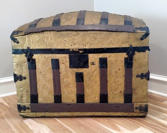 Dome Shaped Steamer Trunk Pressed Tin