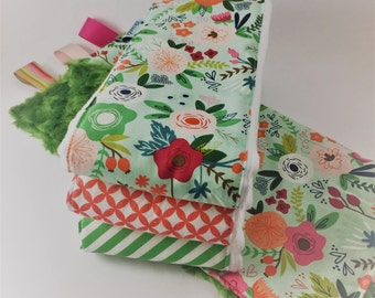 Unique Baby Shower Gift - Pretty Floral Gift Set - Burp Cloth and Lovey Blanket Gift Set