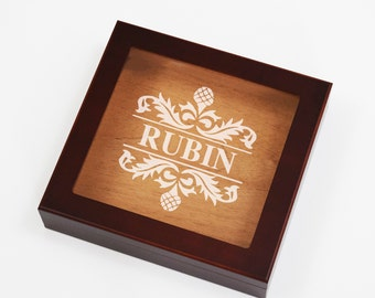 Engraved Humidor Cigar Box, Etched Groomsmen Gift Boxes, Personalized Cherry Wood Finish, Family Last Name, Glass Top, Wedding