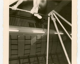 Vintage photo Swinging out of Frame' vernacular photo snapshot, gymnastics movement sports photograph, timing guy
