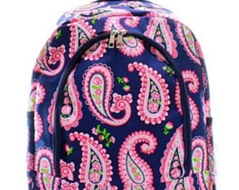 Navy Paisley Canvas Backpack/Bookbag - Personalized/Monogrammed