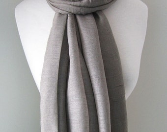 Grey infinity scarf, Lightweight grey long viscose scarf for spring, summer and fall, Grey cotton infinity scarf