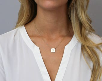 Personalized Square Necklace, Initial Necklace, Dainty Necklace for Her, Gift for Her, Gold Bar, Silver Bar, LEILAJewelryShop, N207