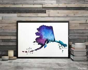 Alaska Map, Original Watercolor Painting, Illustration, Galaxy, 50 US State Print, modern art Home Decor, Holiday Gift, Double exposure