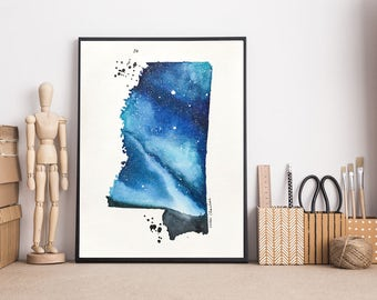 Mississippi Map, Map print, Printable art, Watercolor art, Illustration art, Galaxy painting, State Print, Modern art, Long distance gifts