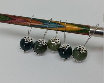 Moss Agate Stitch Marker - Natural Semi Precious Stone Knitting Marker