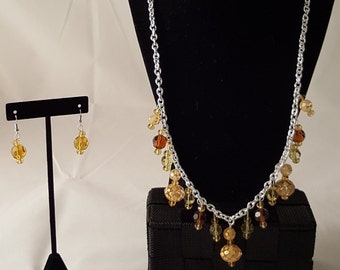 Silver Chain Dangle Necklace Set - Dangle Necklace - Chandelier Necklace - Brown Necklace - Yellow Necklace - Yellow Earrings - Jewelry Set