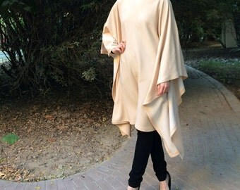 Woolen Maxi Top - Apricot Beige Long Top / Long Tunic / Loose Long Top /Long Jersey Tunic / Woolen Top / Jersey Maxi Top / Plus Size Top