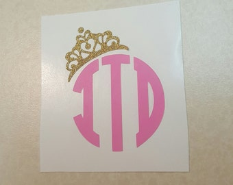 Monogram Decal with Tiara, Personalized Initials with Crown, Custom Made
