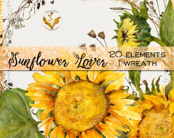 Watercolor sunflowers, sunflower clipart, fall clipart, watercolor clipart, clipart flowers, fall floral clipart, watercolor sunflowers