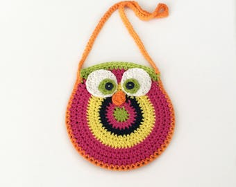 Crochet Owl Bag, Owl Shoulder Bag, Owl Handbag, Little Girls Purse, Owl Purse, Kids Owl Purse, Crochet Owl Purse, Gift For Kids, Girl Gift