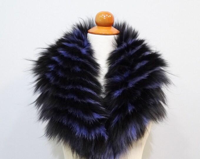Real large fox fur collar, Leather jacket collar F476