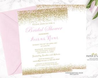 Gold and Pink Bridal Shower Invitation, Custom Bridal Invitation, Quinceanera Invitation, Confetti Shower Invitation, Bridal Shower, BR009