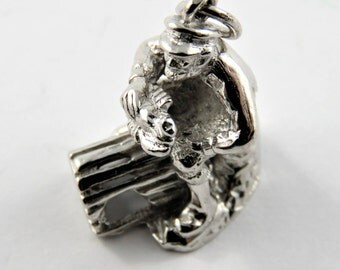 Lobster Fisherman Sitting on His Trap Cleaning Lobster Sterling Silver Charm.