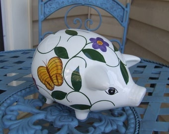 Floral Piggy Bank, Piggy Bank, Pretty Piggy bank with Roses and Butterflies, Adult Piggy Banks,Country Cottage Piggy Bank Decor,Savings Gift