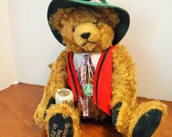 Musical Bear, Hermann Mohair OKTOBERFEST Musical Bear, Rolf's 75th Birthday, Munich Oktoberfest Bear, HERMANN Mohair Bear, made in Germany