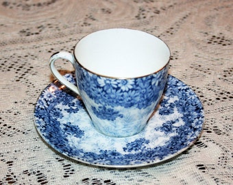 Antique Royal Doulton China Blue Daisy Demitasse Cup and Saucer circa 1907 Teacup & Saucer Tea Cup