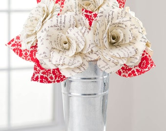 "Paper Flowers BOUQUET ""Grow Old with Me"" Roses: Handmade, Custom, FAST SHIP!! Paper Anniversary, Engagement, Birthday, Send Paper Blooms"