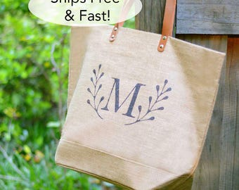 Personalized Tote Bag | Zippered Tote Bag with Pocket | Burlap | Wife Gift | Teachers Gift | Travel Overnight Bag | Last Minute Gift Idea