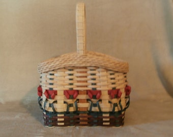 Handwoven Basket: Wine Basket with Flowers