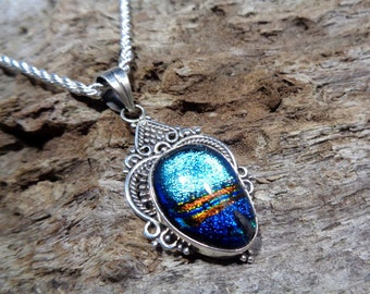 """925 sterling silver & handmade colorful, glittery Dichroic Glass pendant. Complete with 16,18,20 or 30"""" chain. Unique, sparkly. *496*"""