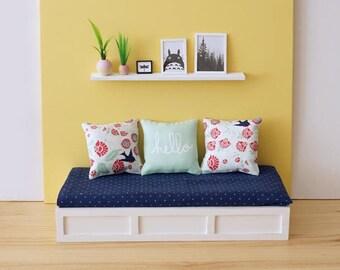 Sofa bed scale 1:6 black color for diorama blythe, barbie, licca, dal, momoko or similar