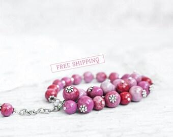 Summer outdoors Fuschia bracelet, Fuchsia bracelet, Fuschia jewelry, Fuschia beaded bracelet, Fuchsia beaded bracelet, Fuschia pink bracelet