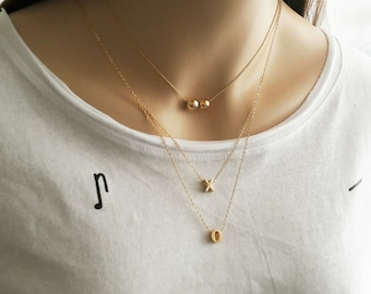 Best Friend Necklace, Gold XO Necklace, Gift for sister, Christmas, Minimalist Necklace, Simple Everyday Jewelry, Long Gold Necklace / N293
