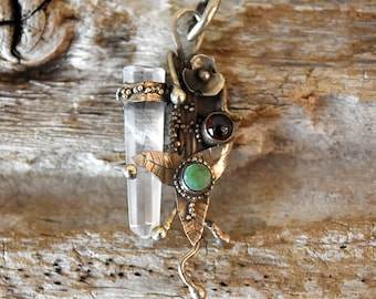Vintage Handcrafted Crystal Pendant Fairy Style Sterling Silver Necklace Charm with Ivy and Floral Design