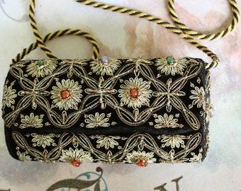 Vintage Gemstone Goldwork Purse // Vintage Gold Work // Silver Thread // Black Velvet Bag // Evening Bag